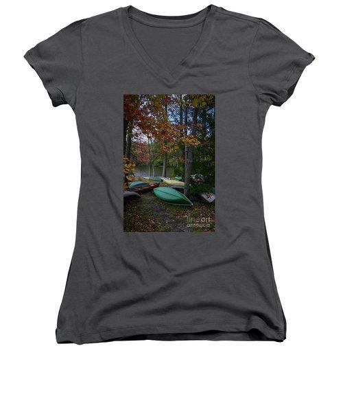Mt. Gretna Canoes In Fall Women's V-Neck