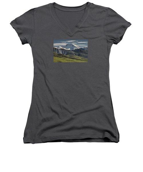 Women's V-Neck T-Shirt (Junior Cut) featuring the photograph Mt. Mather by Gary Lengyel