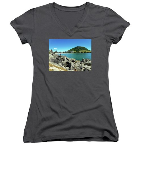 Mt Maunganui Beach 11 - Tauranga New Zealand Women's V-Neck