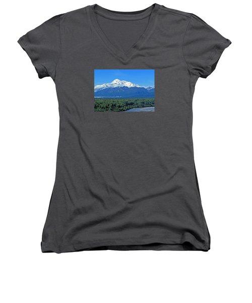 Denali, Aka Mt. Mckinley  Women's V-Neck (Athletic Fit)