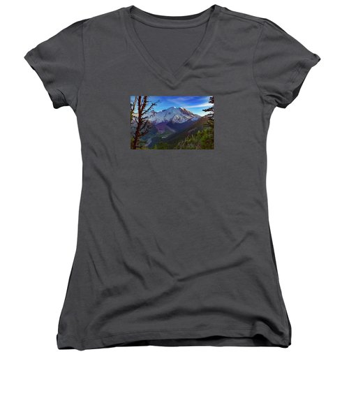 Women's V-Neck T-Shirt (Junior Cut) featuring the photograph Mt Rainier At Emmons Glacier by Ken Stanback