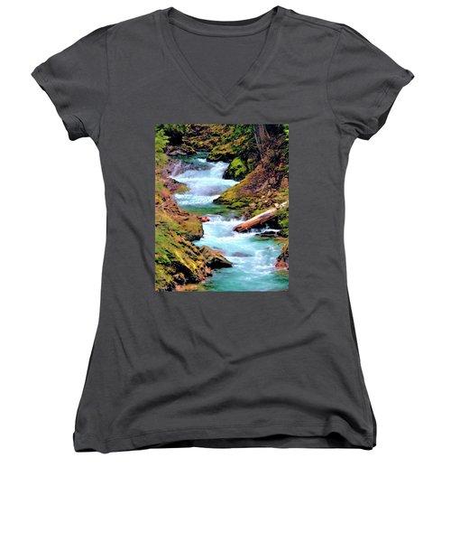 Mt Rainier Cascades, Fine Art Print Women's V-Neck (Athletic Fit)