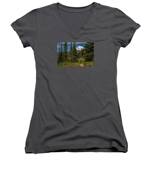 Mt. Rainier Naches Trail Landscape Women's V-Neck T-Shirt