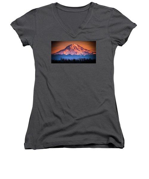 Mt. Rainier Sunset Women's V-Neck (Athletic Fit)