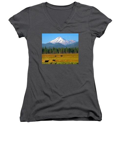 Mt. Shasta Morning Women's V-Neck T-Shirt