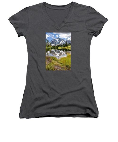 Mt Shuksan On Picture Lake 2 Women's V-Neck T-Shirt