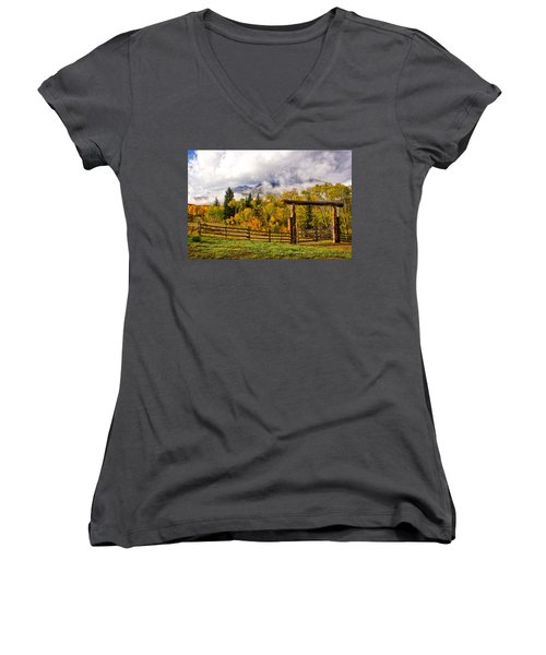Mt Sopris Under The Clouds Women's V-Neck T-Shirt