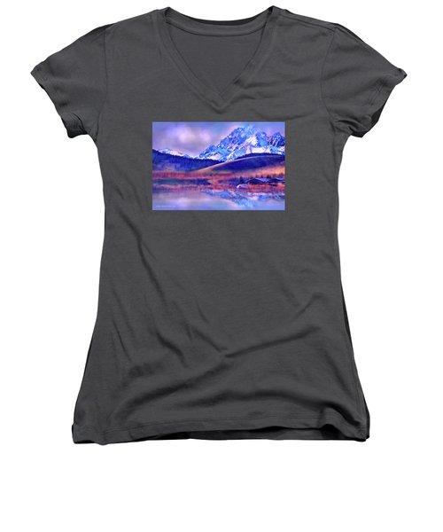 Mt. Stuart Women's V-Neck T-Shirt (Junior Cut) by Kari Nanstad