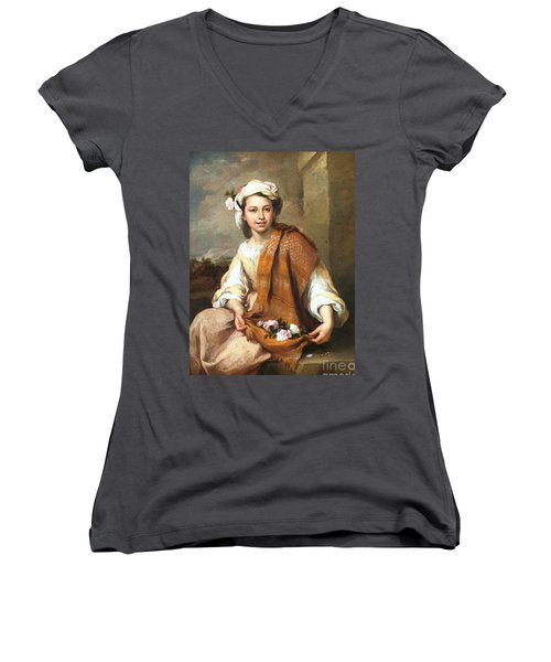 Women's V-Neck T-Shirt (Junior Cut) featuring the painting Muchacha Con Flores by Pg Reproductions