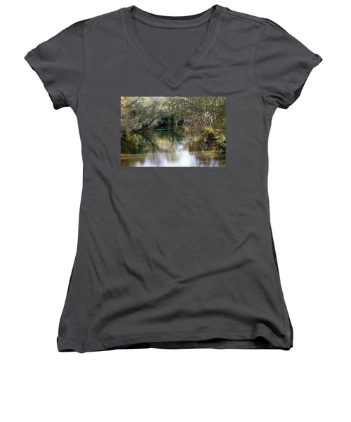 Muckalee Creek Women's V-Neck T-Shirt (Junior Cut) by Jerry Battle