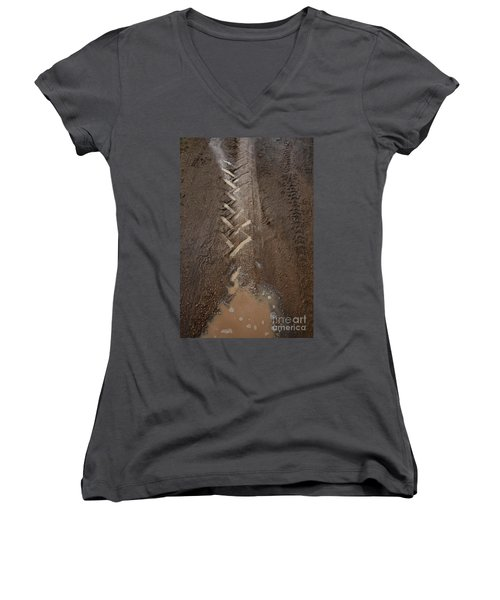 Women's V-Neck (Athletic Fit) featuring the photograph Mud Escape by Stephen Mitchell