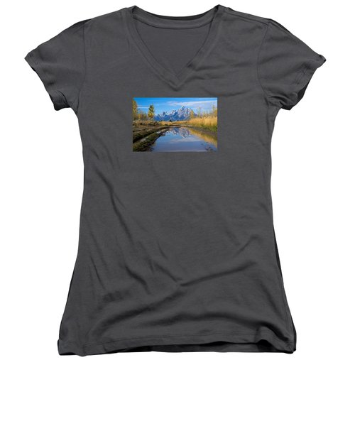 Mud Puddle Reflection Women's V-Neck T-Shirt
