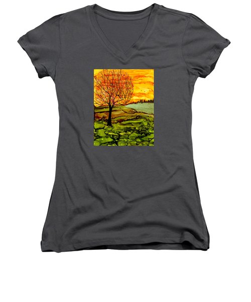 Muddy Fall Women's V-Neck (Athletic Fit)