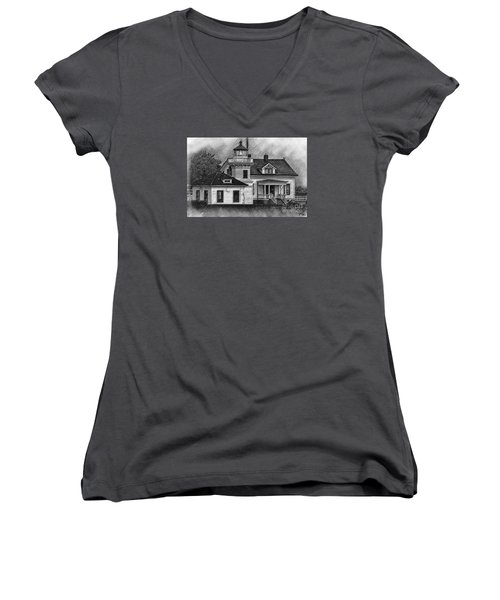 Mukilteo Lighthouse Sketched Women's V-Neck T-Shirt