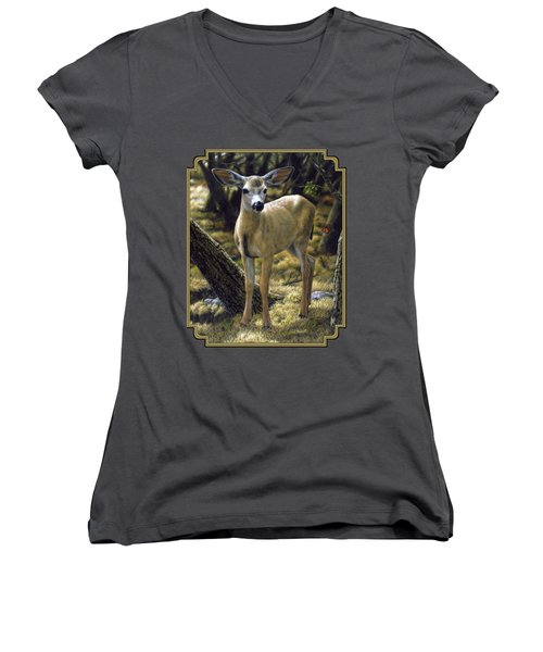 Mule Deer Fawn - Monarch Moment Women's V-Neck T-Shirt (Junior Cut) by Crista Forest