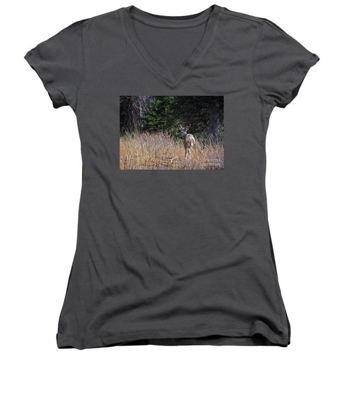 Mule Deer In Utah Women's V-Neck T-Shirt (Junior Cut) by Cindy Murphy - NightVisions