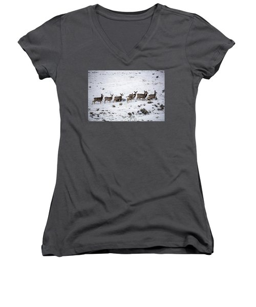 Muledeer Gather On A Snowy Hillside In Sweetwater County In Wyoming Women's V-Neck T-Shirt (Junior Cut) by Carol M Highsmith