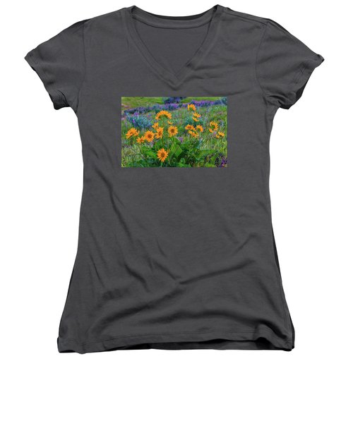 Mule's Ear And Lupine Women's V-Neck (Athletic Fit)