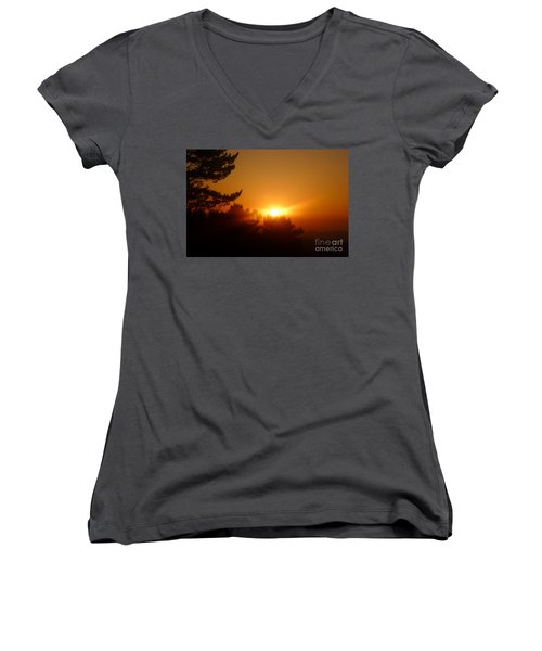 Women's V-Neck T-Shirt (Junior Cut) featuring the photograph Mulholland  by Nora Boghossian