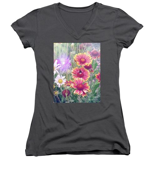 Multi Coloured Flowers With Bee Women's V-Neck T-Shirt (Junior Cut) by Lynn Bolt