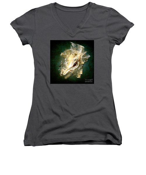 Women's V-Neck T-Shirt (Junior Cut) featuring the painting Multidimensional Finds by Alexa Szlavics