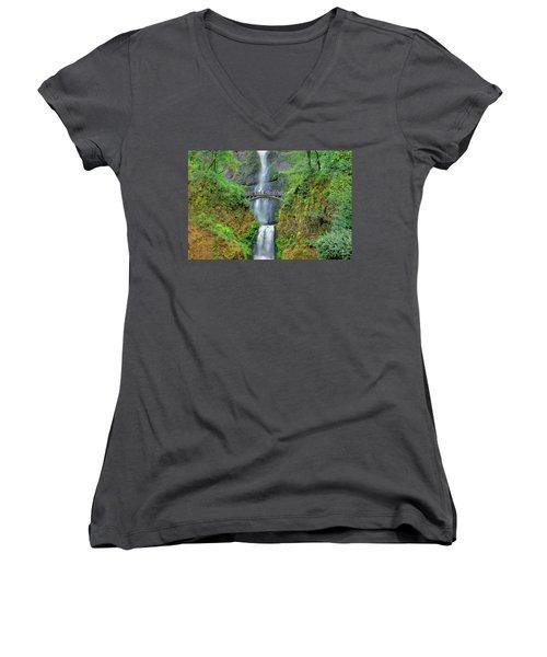 Multnomah Falls 2  Women's V-Neck