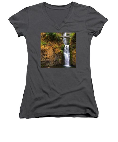 Multnomah Falls Women's V-Neck (Athletic Fit)