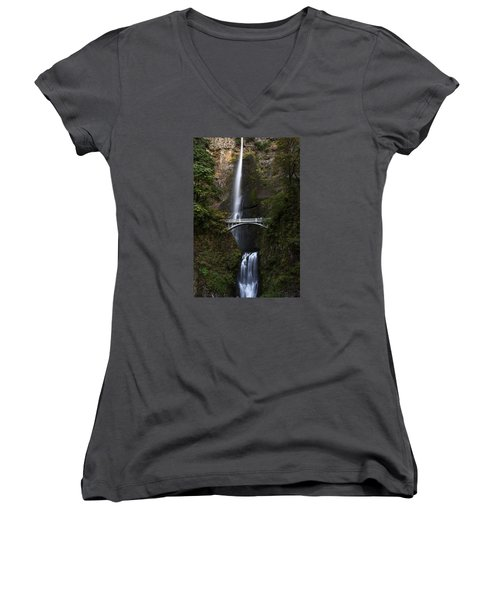 Multonomah Falls Women's V-Neck T-Shirt (Junior Cut) by John Gilbert