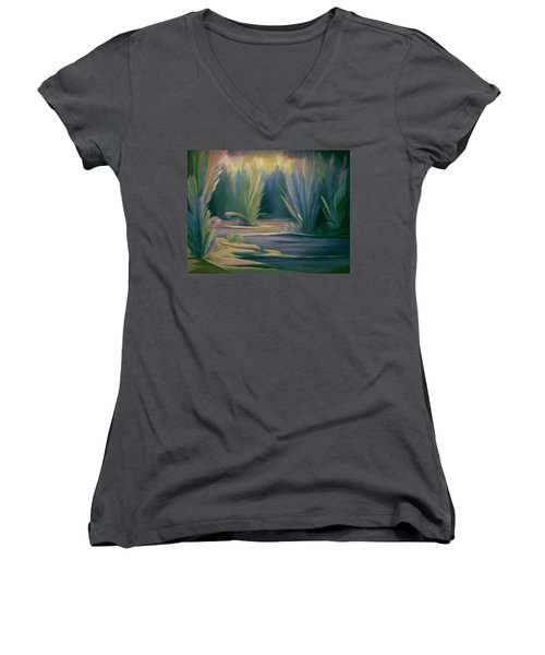 Women's V-Neck T-Shirt (Junior Cut) featuring the painting Mural Field Of Feathers by Nancy Griswold