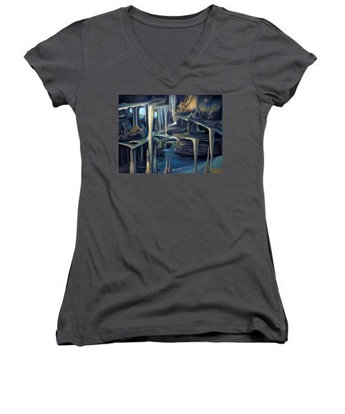 Mural Ice Monks In November Women's V-Neck T-Shirt