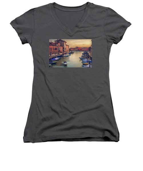 Murano Late Afternoon Women's V-Neck T-Shirt (Junior Cut) by Brian Tarr
