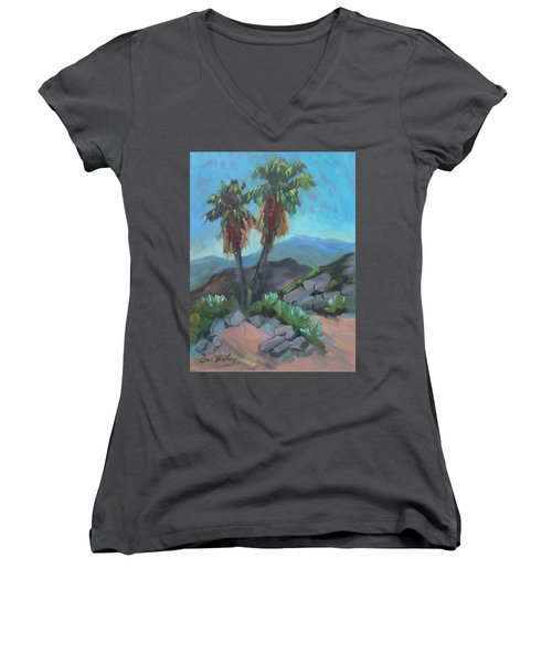 Women's V-Neck T-Shirt (Junior Cut) featuring the painting Murray Trail Andreas Canyon by Diane McClary