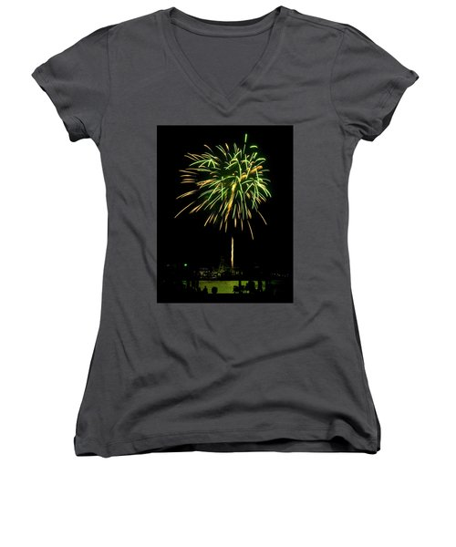 Women's V-Neck T-Shirt (Junior Cut) featuring the photograph Murrells Inlet Fireworks by Bill Barber