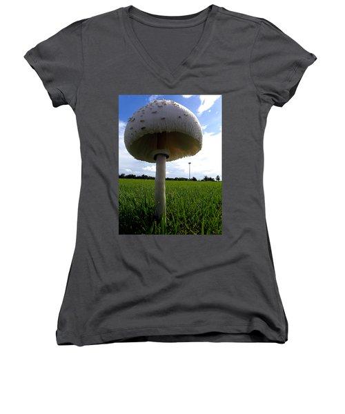 Mushroom 005 Women's V-Neck T-Shirt (Junior Cut) by Chris Mercer