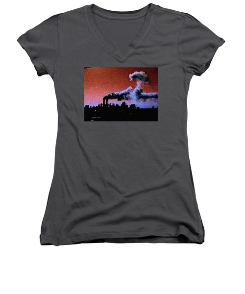 Women's V-Neck T-Shirt (Junior Cut) featuring the digital art Mushroom Cloud From Flight 175 by James Kosior