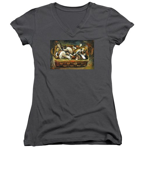 Women's V-Neck T-Shirt (Junior Cut) featuring the painting Mushrooms by Mikhail Zarovny