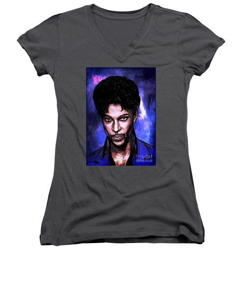 Women's V-Neck T-Shirt (Junior Cut) featuring the painting Music Legend  Prince by Andrzej Szczerski