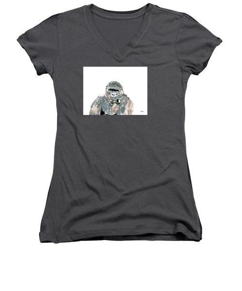 Women's V-Neck T-Shirt (Junior Cut) featuring the digital art Music Notes 23 by David Bridburg
