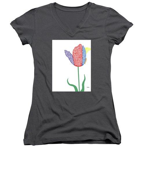 Women's V-Neck T-Shirt (Junior Cut) featuring the digital art Music Notes 3 by David Bridburg