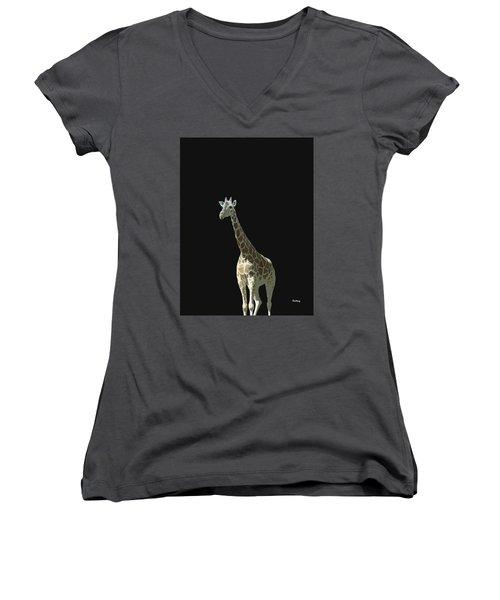 Women's V-Neck T-Shirt (Junior Cut) featuring the digital art Music Notes 32 by David Bridburg
