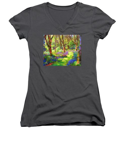 Women's V-Neck T-Shirt (Junior Cut) featuring the painting Music Of Light, Bluebell Woods by Jane Small