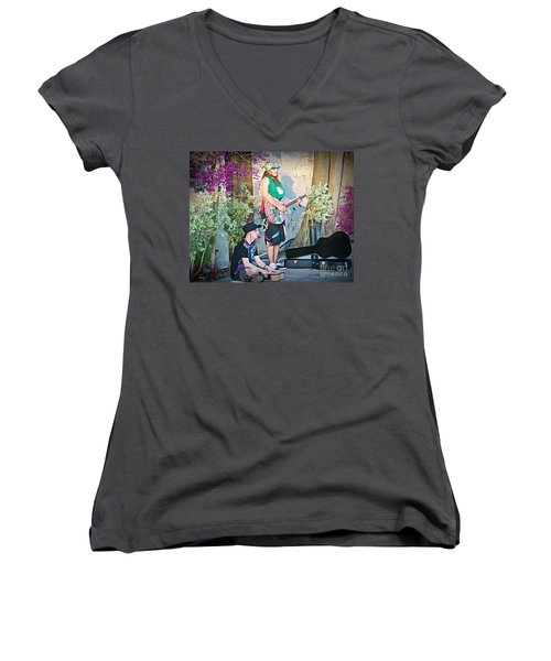 Music On The Side Women's V-Neck T-Shirt (Junior Cut) by Judy Kay