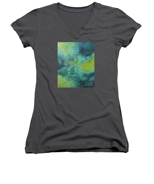 Women's V-Neck T-Shirt (Junior Cut) featuring the painting Musing 117 by Elis Cooke