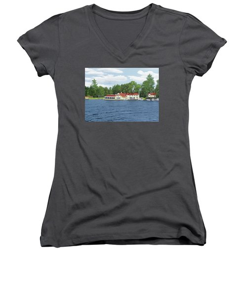 Women's V-Neck T-Shirt (Junior Cut) featuring the painting Muskoka Lakes Golf And Country Club by Kenneth M Kirsch