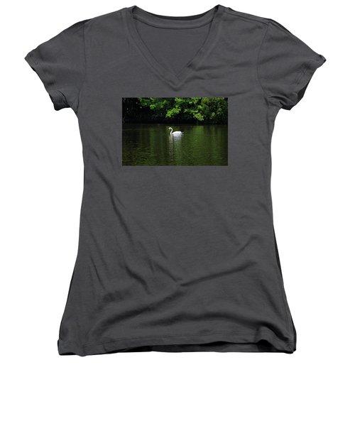 Women's V-Neck T-Shirt (Junior Cut) featuring the photograph Mute Swan by Sandy Keeton