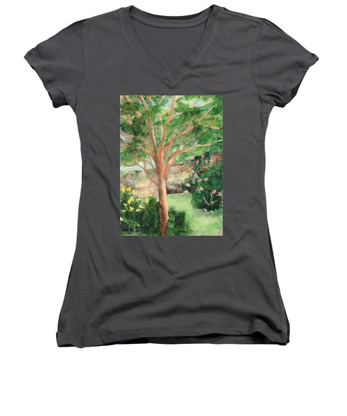 Women's V-Neck T-Shirt (Junior Cut) featuring the painting My Backyard by Vicki  Housel