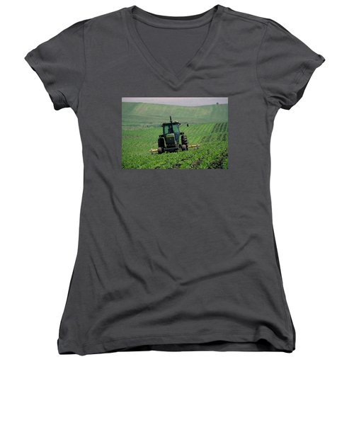 My Big Green Tractor Women's V-Neck (Athletic Fit)