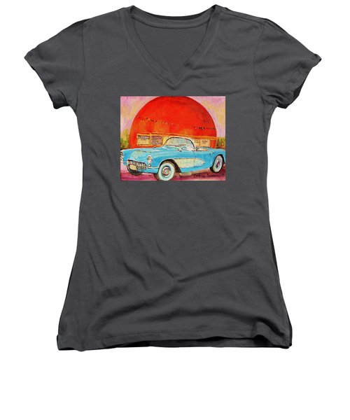 Women's V-Neck T-Shirt (Junior Cut) featuring the painting My Blue Corvette At The Orange Julep by Carole Spandau