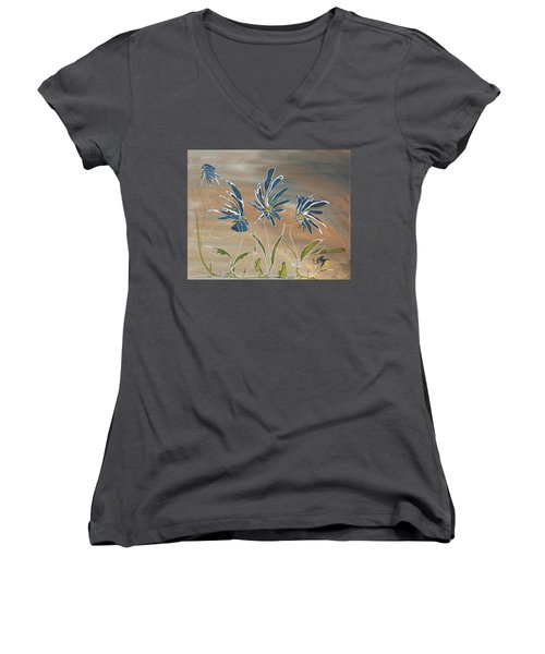 Women's V-Neck T-Shirt (Junior Cut) featuring the painting My Blue Garden by Pat Purdy