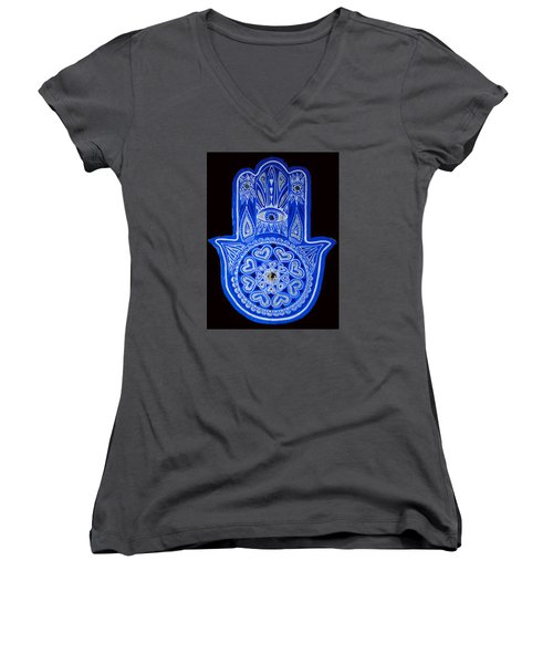My Blue Hamsa Women's V-Neck T-Shirt (Junior Cut) by Patricia Arroyo